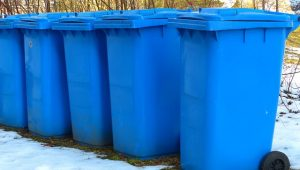 blue garbage bins